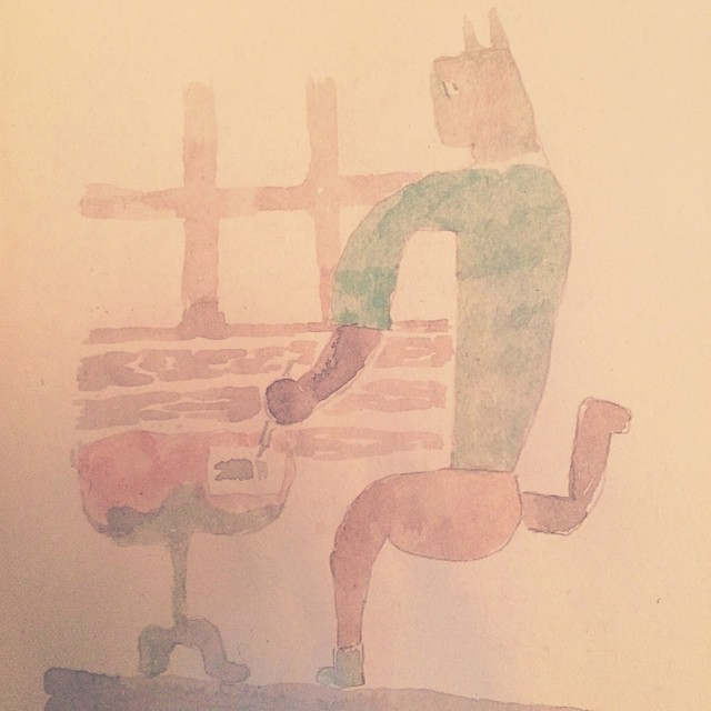 ️空気椅子で 絵を描く️