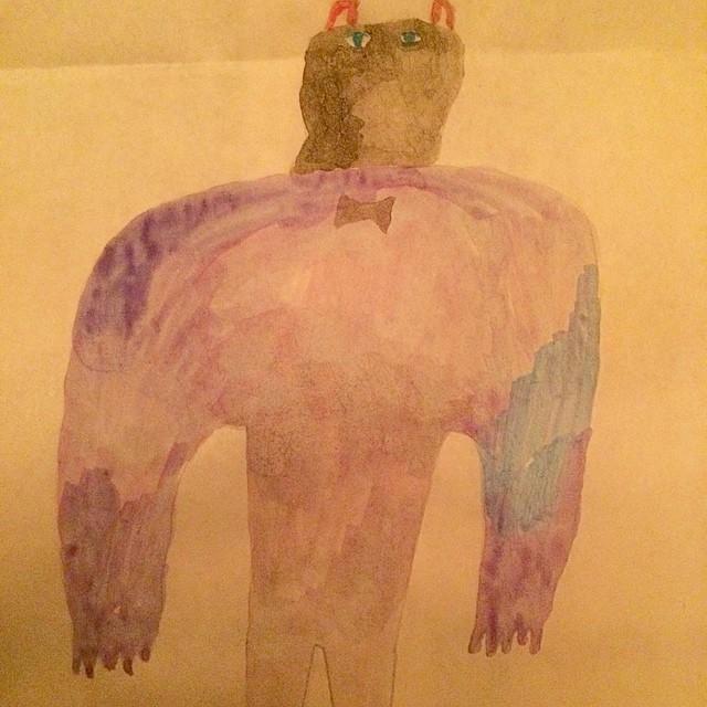 今朝 描いたけど 夜な絵。肩は広いけど 小さい絵。