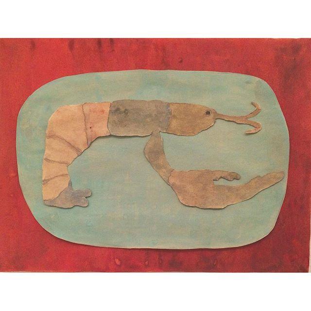 『EBI LOVE』魚の棚さんより  イギリスに住む 海老好きの小説家さんに 贈られた えびの絵。ぼくは 海老に対して 特別な想いは ないけど  海老フライは 尻尾の先まで 食べる習慣が 着いている。  だって 尻尾の先にはビタミンABが あるのだから。