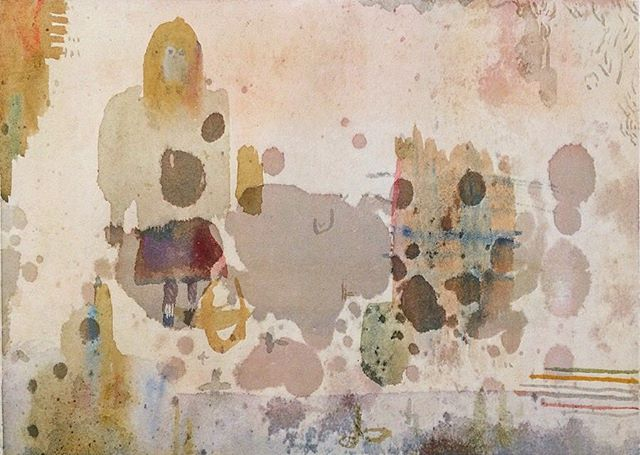 『melancholic girl』制作に フラットに集中していると、  時々 フワッと 違うチカラが働いて  自分が 描いているけど 描いていない様な感触で 作品が生まれる。そんな時は 筆先から感じとる 時間の流れみたいなモノが 自分の世界の一部になったかの様な 錯覚も覚える。 インスピレーション。そして 今回の3人展に この絵を 飾る事ができて よかったとのだと 思います。 『芦田尚美・加藤智哉・谷内亮太 3人展/めぐる まわる 環世界』•••2017年5月3日(水祝)~5月28日(日) ••12:00-19:00 ••KOUSAGISHA GALLERY/京都浄土寺••