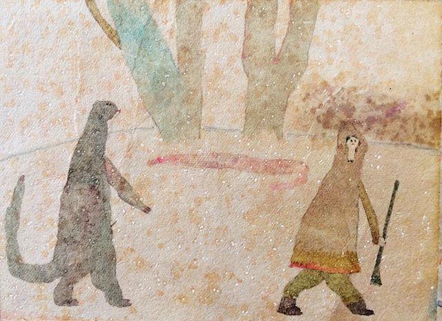 『ついてくる爬虫。探す狩人。歩く2ひき』絵を描くことで  その日が 絵のリズム感に 染まって  探す。場所はあるけど 待ち合わせも予定もなく  時間は少し時計から離れて 体内になって追う。短縮や増長が 肉体的な感触になって  木炭とパンから知った、あの黒くなった 画面の広さ。炭には 閃きの稲妻が落ちる。育つ。