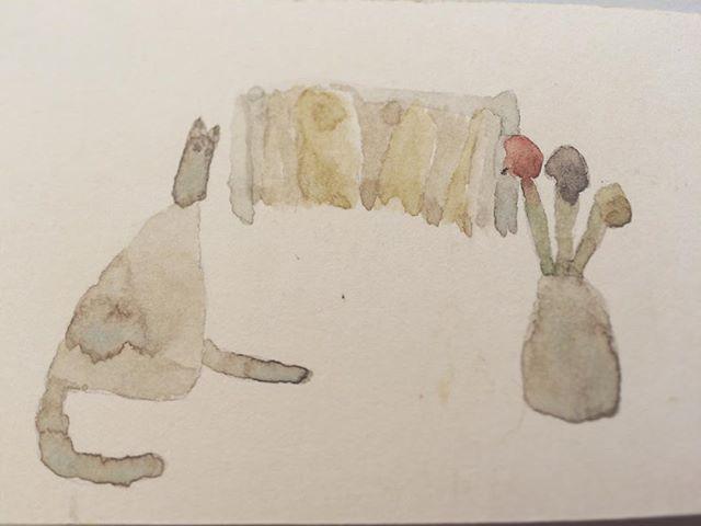 『花と猫』日記帳が また 一冊描けた。