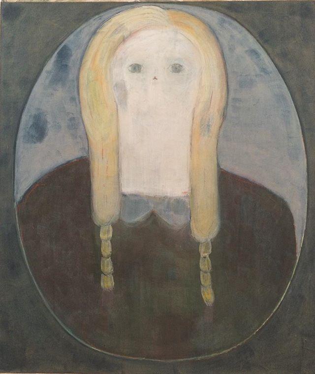 『茶色いセーターを着た 黄色い髪と青い目の肖像』