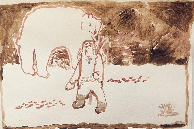 『旅人と熊』茶色い暗闇。疑心暗鬼。