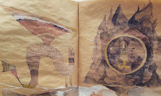『黒い炎にまかれる娘と兎龍』爆発している娘。風の強い日。龍の尻尾の音。茶色い日記帳。