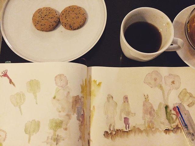 絵と珈琲があると 気持ちが落ち着く。junjun さんがくれた オオマエのゴマクッキーが おいしい。