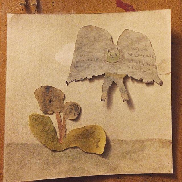 『花とフクロウ』翔ぶモノと根をもつモノ。