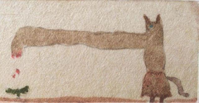 『手が伸びて 芽にふりかける』描きたかったのは 長い手。