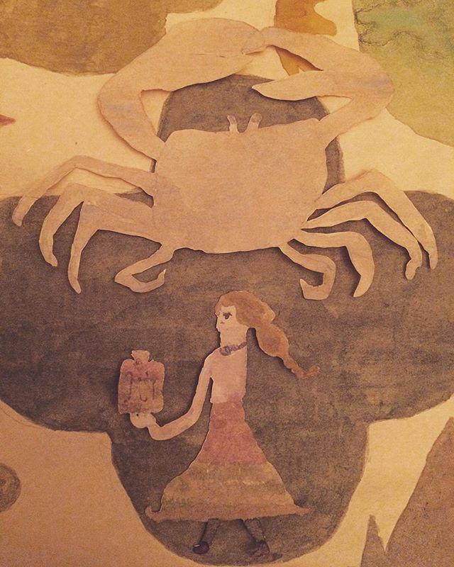 淡い蟹。花瓶を持つ女性。