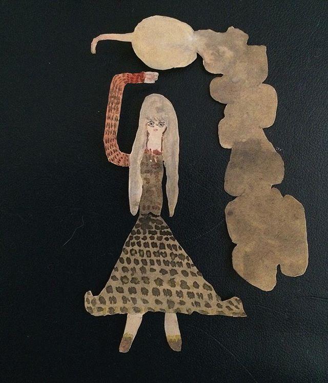 『上手と蕪垂葉』女性は 上に手を伸ばし、蕪は 菜っ葉を垂れ下げる。