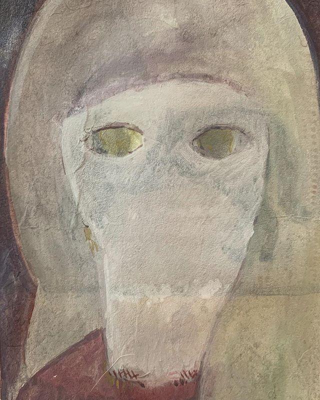 『黄色い視線』視線ばかりで 口がこもる。中くらいのパネルに なにを 描けるのかな。最近は 描きながら みつけていってる。