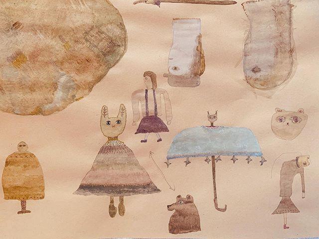 昨日描いた 傘から  女の子に 獣を 被せるまで。