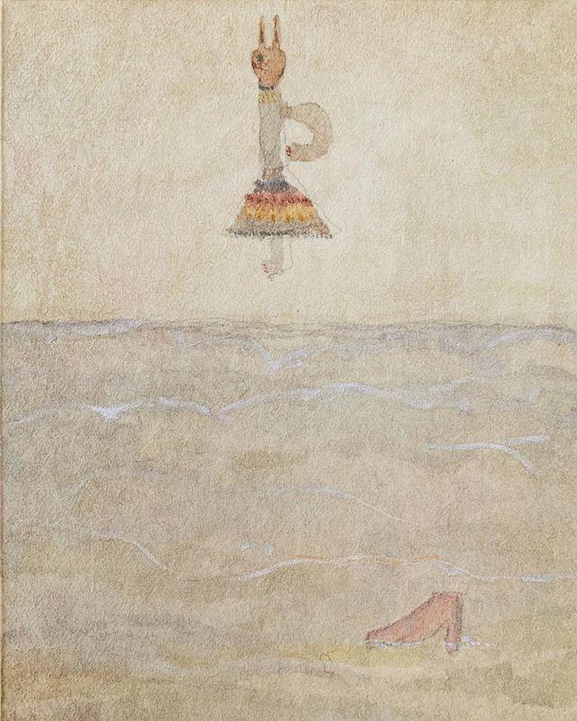 『 waves shoes cat 』気が付いたら 波に靴がさらわれてた??いやいや、波を置いて 靴を置いて スカートはいた猫を 置いただけだよ。まずは置いてある事に気付かない事を 何にさらわれた と いうのかな???