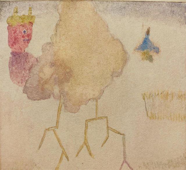 『カミナリさまの風景』今日は 曇りだったから 部屋が暗い中 描いた。なんだか 最近 崇高な感じが 描けない。あと 紙質が変わった気がした。ピカピカ。