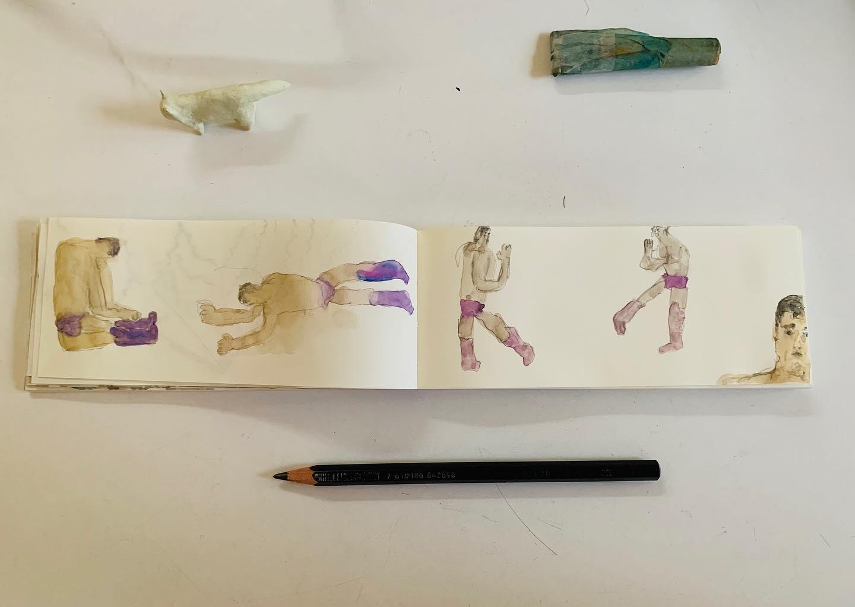 今日の日記帳作業は プロレスラーの 高田 延彦を描いて なんだか落ち着く。中華料理が 食べたい。