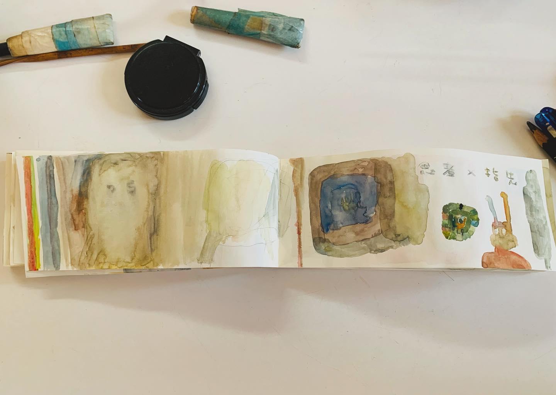 個展がおわり 燃え尽きました。だから 今朝はたくさん 日記帳を描いた。描いた。阿部 海太。(←展示に来てけれた 絵描きさん)