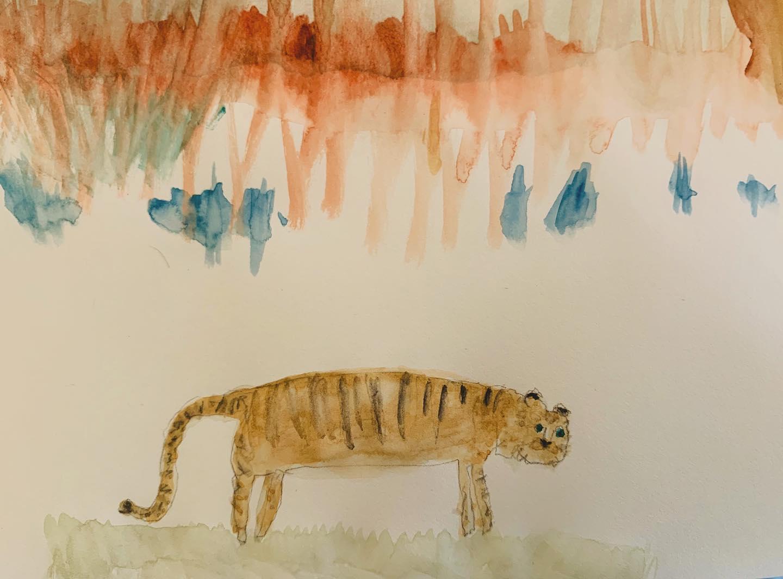 草原を描いていたら久しぶりに 虎が出てきた。昨日は ラッパから ミラクル。今日は少し 冷静にみないと 幻想だけに 飲み込まれる。
